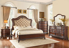 ABBY - 5pcs Old World Cherry King Tufted Chenille Mansion Bedroom Set Furniture