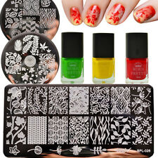 6Pcs Leaves Nail Art Stamp Plates Stainless Steel Template Stamping Polish Set