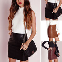 Women Sexy PU Leather Pencil Bodycon High Waist Mini Dress Short Skirt Clubwear