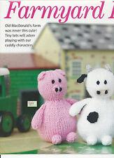 """FARMYARD FRIENDS TOY KNITTING PATTERN   5"""" TALL PIG-LAMB-C0W-DUCK"""