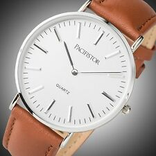 PACIFISTOR Mens Lady Quartz Wrist Watch Brown Leather Ultra Thin Slim St Mawes