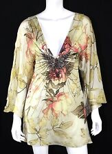 ROBERTO CAVALLI Multi-Color Floral Silk Chiffon Jeweled Mini Dress 40