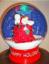 "EUC Peanuts Christmas Snoopy Doghouse Lighted Muscial 13.5"" Plastic Snow Globe"