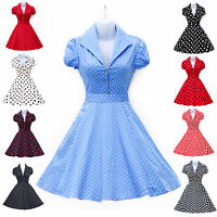 CHEAP~ Vintage 50s 60s Polka Dot Swing Pinup Retro Summer Party Dress