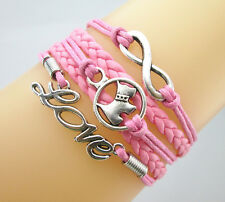 Pretty Cute Infinity/Dog/Love Charms Leather Braided European Bracelet-Hot Pink
