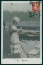 Edwardian Lady Fantasy Bird White Swan original vintage old 1910s photo postcard
