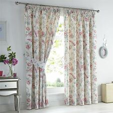 "ORIENTAL BIRDS FLORAL PINK WHITE LINED 66X72""-168X183CM PENCIL PLEAT CURTAINS"