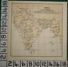 ANTIQUE INDIA MAP ~ INDIA SHOWING AVERAGE TEMPERATURE HOT & COLD SEASONS