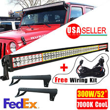 "300W 52"" LED Light Bar+Mounting Brackets+Wiring For Jeep JK Wrangler 7000K Cool"