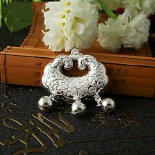Fashion Pure S990 Silver Carved Bless Lotus Baby's Lucky Lock Pendant J.Lee
