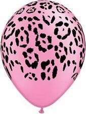 10 pc Neon Pink Safari Animal Print Latex Balloons Happy Birthday Party Jungle