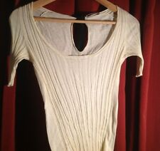 PRADA $275 Womens Ivory Knitted Fitted Shirt w/Black Silk String Closure Size S