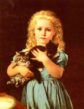 Oil painting catherine amyot an armful of mischief little girls with cats kitten