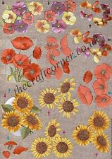 Sunflower & Pansy Flowers Dufex 3d Decoupage Card Making Paper Craft CUTTING REQ