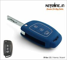 KeyZone Silicone Key Cover fit for New i20, Verna, Xcent Flip Key (Blue)