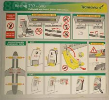 TRANSAVIA airline B 737 - 800 SAFETY CARD Old version e082 ee