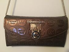REAL MICHAEL KORS Clutch Purse*Brand New*BROWN AND GOLD