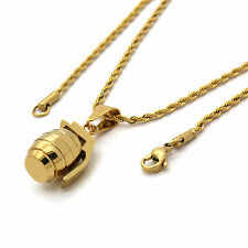 "Men Gold Plated Stainless Steel Grenade Pendant 2mm 24"" Inch Rope Chain Necklace"