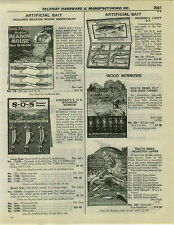 1932 PAPER AD Heddon's Fishing Lures Store Display Cards Surf Oreno SOS Mouse