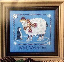Wooly Wintertime Cross Stitch Kit Chart 28ct Linen Sampler Threads Floss Button