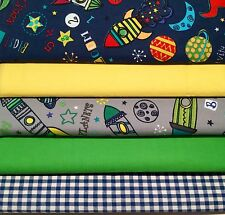 100% Cotton Fabric Fat Quarters Bundles Craft Sew Quilt Gingham SpaceRocket Moon