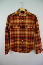 Men's Urban Outfitters Salt Valley Brown Plaid Flannel Shirt Size XS Extra Small