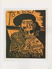 "1989 VINTAGE ""TOROS VALLAURIS 1958"" PICASSO COLOR offset Lithograph"