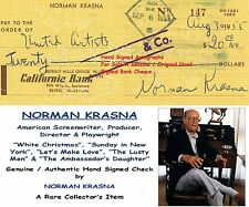 NORMAN KRASNA    AMERICAN PLAYWRIGHT   HAND SIGNED BANK CHEQUE   1955  RARE ITEM