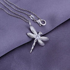 """925Sterling Silver Fashion Jewelry Zircon Dragonfly Children Necklace 18"""" PY011"""