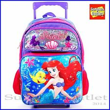 "Mermaid Backpack Disney Little Mermaid Ariel 16"" Large School Rolling Backpack"
