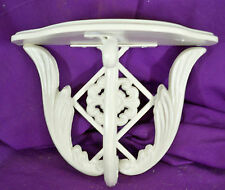 VINTAGE CAST METAL & WOOD WALL SHELF FLORAL LEAF DESIGN WHITE ELEGANT