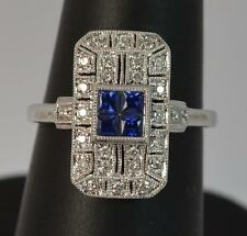 Stunning Art Deco Sapphire and Diamond 18ct White Gold Panel Ring d0717