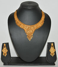 One Gram Fancy Gold Forming Necklace Earring Set Jewellery for Women