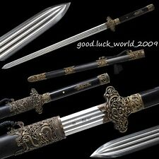 Unique Chinese Qin Sword Full Tang Sword Pattern Steel Copper Sharp Ebony Sheath