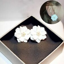 1 Pair Beads Plastic Big White Flower Camellia Stud Earring Simulated Pearl