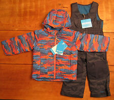 NWT Columbia boys 4T Frosty Slopes winter coat snow bib set waterproof blue