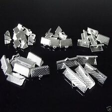 100 x Silver Plated Ribbon End Clasps Mixed Sizes