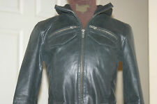 IMAGES Black REAL LEATHER Cuir Leder Pelle JACKET uk8 eu36 us4 Chest c34in c86cm