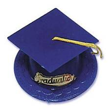 Blue Graduation Cap Hat Cake Topper Cupcake Candy Cookie Decorations