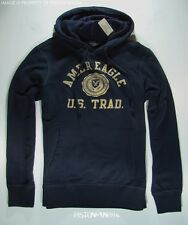 American Eagle Mens Navy Blue Crest Pullover Hoodie Sweatshirt SMALL NWT