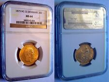 1873CS DENMARK 20 KRONER MERMAID GOLD COIN NGC MS64 Christian IX