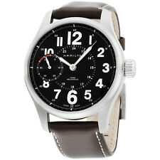 Hamilton Khaki Field Mens Brown Strap Black Dial Stainless Steel Watch H69619533