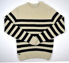 [132 23] Lacoste Men Crewneck White Wool Sweater with Blue Stripes SZ M (4)