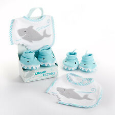 Chomp & Stomp Shark Bib and Booties Gift Set Baby Shower Gift