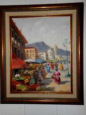 VINTAGE SIGNED ORIGINAL OIL/CANVAS PANEL LATIN AMERICAN ORIG. FRAME