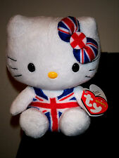 Ty Beanie Baby ~ HELLO KITTY Union Jack Jumper Suit UK Exclusive ~MINT ~2012 NEW