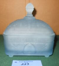 VTG Tiara Indiana Glass Frosted Blue Honey Bee Hive Bees Covered Candy Dish