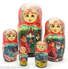 Cinderella Russian Hand Carved Hand Painted Nesting Dool FAIRY TALE