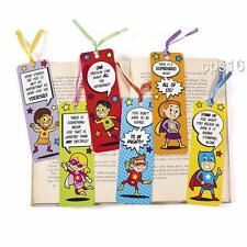 12 x Superhero Bookmarks...Childrens Party Favours...Party Loot Bag Supplies