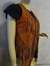 Vintage  Fringed & Studded  Bohemian Hippie Suede Leather Vest - Small / Medium
